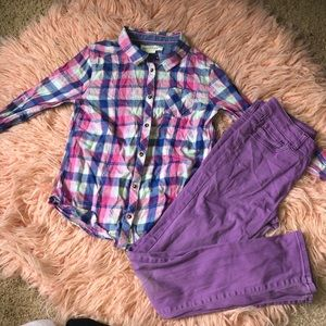 Pink/Blue Flannel Shirt with purple jeans